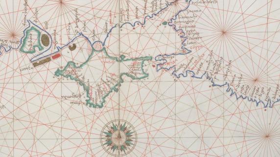 Фрагмент портулана Черного моря, составленного в 1553 Баттистой Аньезе (Battista Agnese), на котором показана Новая Англия и некоторые из её географических названий.