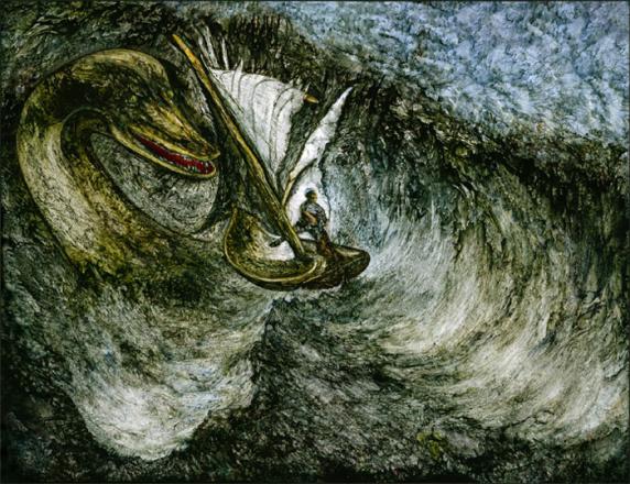 Рис. 3. Встреча с Лох-Несским чудовищем. Рисунок современного художника